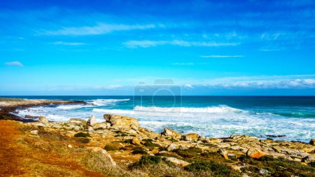 Waves rolling on to the shoreline of the Atlantic Ocean coast at Cape of Good Hope