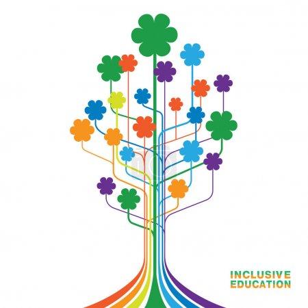 Illustration pour Logo pour une éducation inclusive, concept d'égalité des personnes différentes. Arbre abstrait avec des fleurs de couleurs arc-en-ciel . - image libre de droit