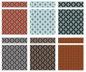 Set of seamless geometric textures and borders American Indians tribal style Swatches and pattern brushes included in vector file