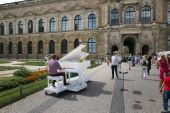 Dresden, Germany - August 4, 2017: The pianist plays the piano at the Theater Square of Dresden.