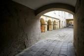 Vilnius, Lithuania - November 5, 2017: Internal cozy courtyard of an apartment building.