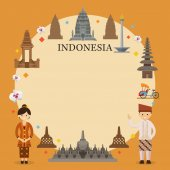 Indonesia Landmarks People in Traditional Clothing Frame