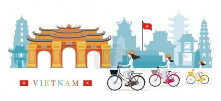 Vietnamese Women with Conical Hat Ride Bicycles, Landmarks Backg
