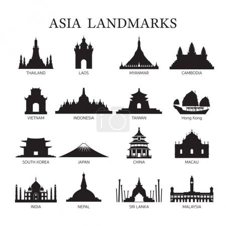 Asia Landmarks Architecture Building Silhouette Set