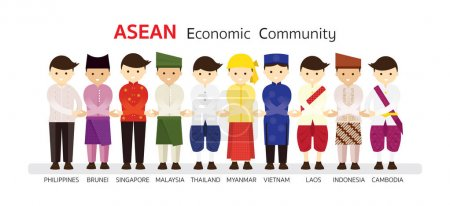 Southeast Asia People in Traditional Clothing join Hand