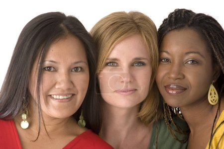 Photo for Multicultal and mulitethnic group of women isolated on white. - Royalty Free Image