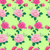 Seamless pattern with large realistic pink roses on a soft light green backgroundVector illustrationSummer floral vector illustration for printsbook covers textile fabric wrapping gift paper