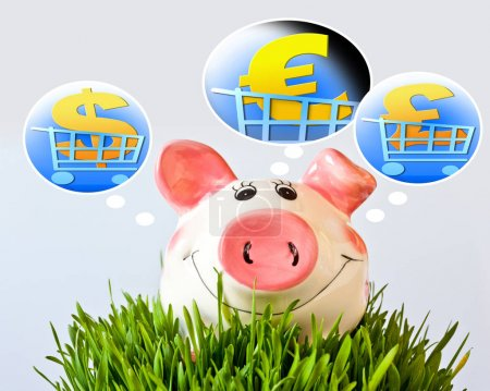 czech economy and finance - piggy bank and foreign currency - dollar, pound and euro signs in shopping trolley