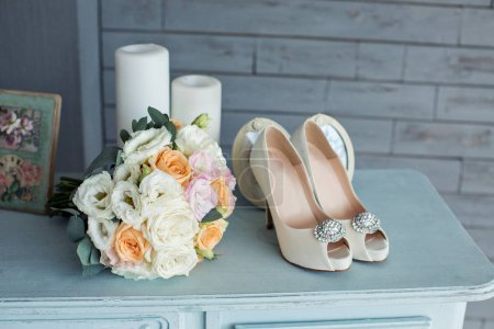 Wedding flowers and beautiful shoes