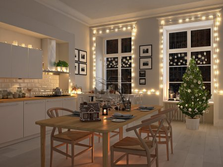 nordic kitchen with christmas decoration by night. 3d rendering