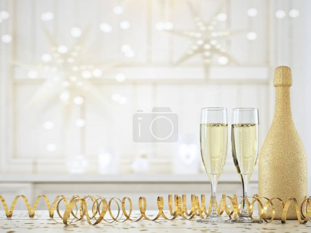 Foto de Dos copas con champagne y botella. concepto de fin de año. Render 3D - Imagen libre de derechos