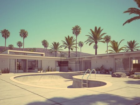 View of swimming pool and modern home exterior. 3d rendering