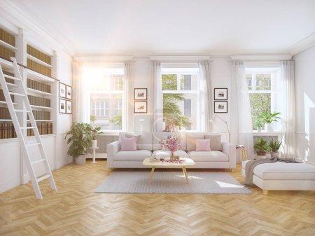 modern living room in townhouse. 3d rendering