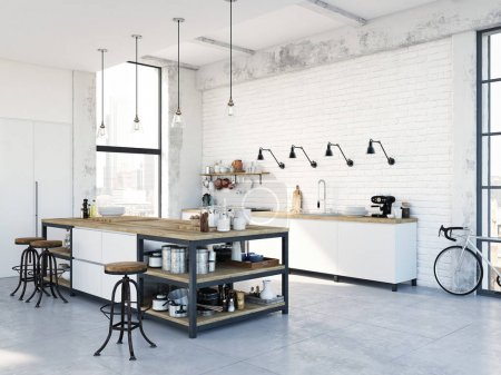 Photo for 3D rendering of modern kitchen in a loft. - Royalty Free Image