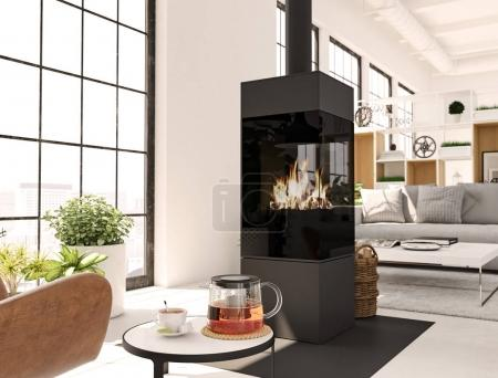 3d rendering. living room with fireplace in modern loft apartment. tea time