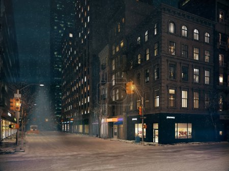 Photo for Blizzard in new york city. nobody in the streets. 3d rendering - Royalty Free Image