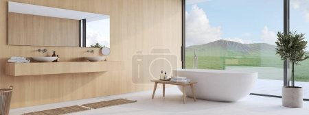 Photo pour Rendu 3D. nouvelle salle de bain moderne avec une belle vue . - image libre de droit