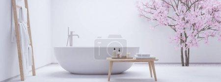 Photo pour Rendu 3D. nouvelle salle de bain zen moderne avec mur blanc - image libre de droit