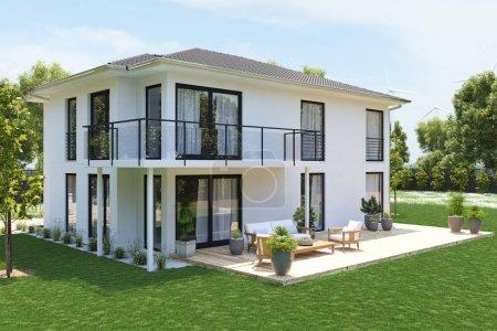 Maison Neuve moderne avec grande propriété. rendu 3D