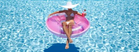 Photo for 3d rendering. woman swimming on float in a pool. - Royalty Free Image