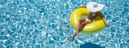 woman swimming on float in a pool. 3d rendering