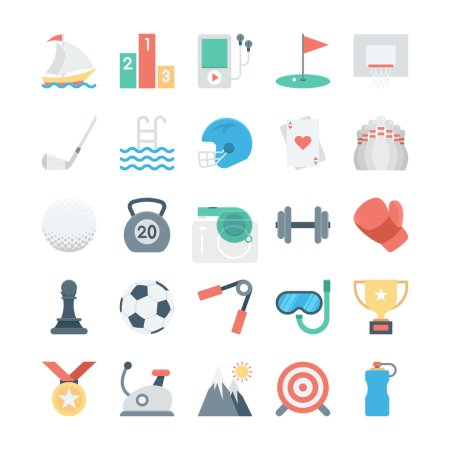 Sports and Games Colored Vector Icons 2
