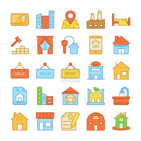 Real Estate Colored Vector Icons 6