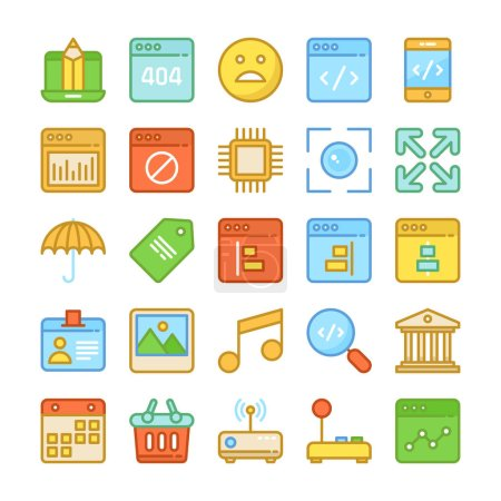 Web Design and Development Colored Vector Icons 7