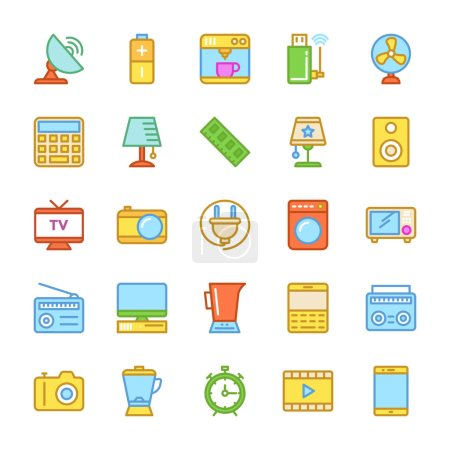 Electronics Colored Vector Icons 2