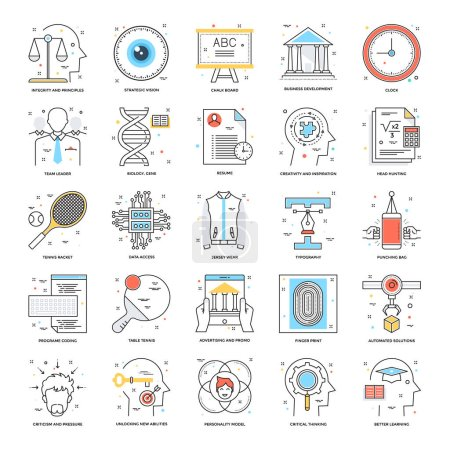 Illustration for A collection of Flat Color Line Icons that you can easily integrate in your design and the cool thing is, that there are so many of them, you will definitely find something you need in here. - Royalty Free Image