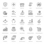 You can easily integrate these Banking and Finance Line Vector Icons in your design projects related to business banking finance and office