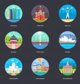 Set of world famous cities illustration