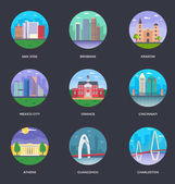 Set of World Famous Cities Illustrations 12