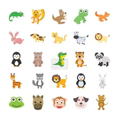 Illustration pour Cet ensemble d'icônes vectorielles pour animaux mignons serait parfait pour tous vos projets d'enfants, les pages de scrapbook de travail sur le thème des animaux pour vos enfants ou les cartes de vœux ludiques . - image libre de droit