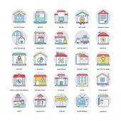 Real Estate Flat Line Icons Set 6