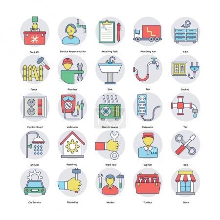 Home Services Flat Circular Icons Set 6