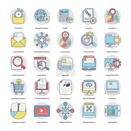 Illustration pour Voici un ensemble impressionnant d'icônes vectorielles Internet et marketing numérique qui est idéal pour le marketing et la promotion de votre site Web, entreprise, ce pack vectoriel serait génial . - image libre de droit