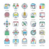 Digital and Internet Marketing Flat Circular Icons Set 8