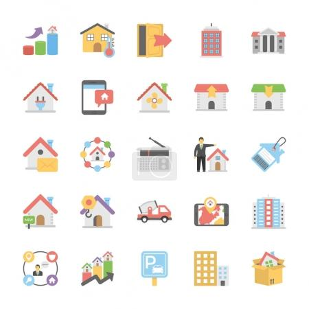 Real Estate Flat Colored Icons Set 9