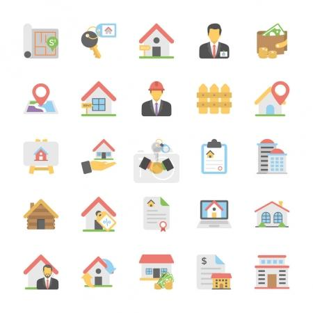 Illustration for This Real Estate Colored Vector Icons Set is just perfect for real estate agencies and home insurance agencies, adverts and promotional materials. - Royalty Free Image