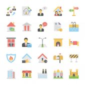 Real Estate Flat Colored Icons Set 3