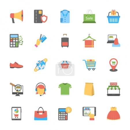 Flat Icons Set of Shopping and Commerce