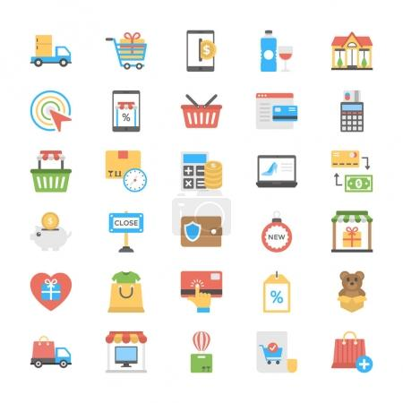 Shopping and Commerce Icons in Flat Design