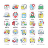 Coloured Flat Vector Icons of Logistics Delivery