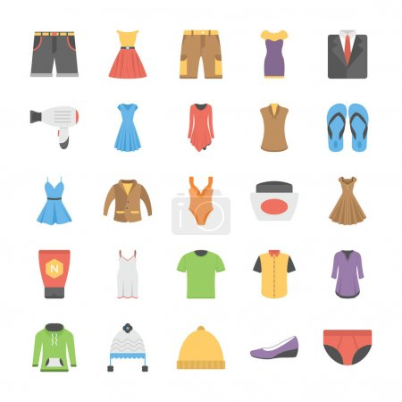 A Vector Icons Set Of Fashion In Flat Design