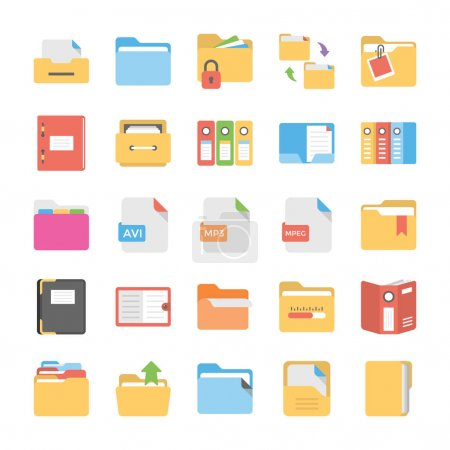 Flat Icons Set of Files and Folders...