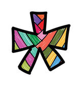 Colorful asterisk star sign