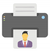 Flat icon design of printing machine printer
