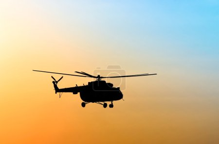 Silhouette of the helicopter...
