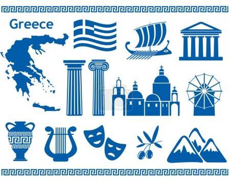 Grecia iconos de viaje conjunto